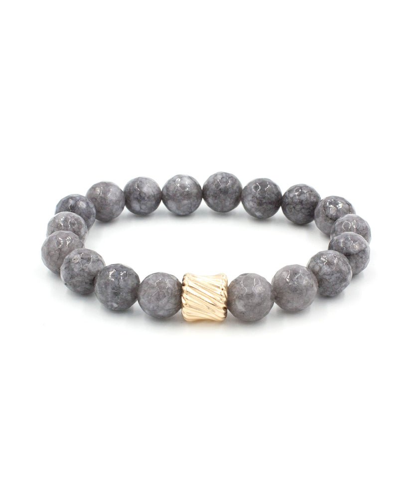 Load image into Gallery viewer, Gold Twist Stack Bracelet | Grey Jade