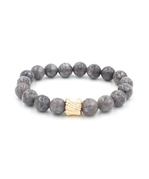 Gold Twist Stack Bracelet | Grey Jade