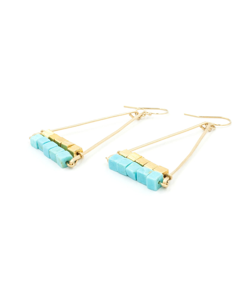 Cleo Double Pyramid Earrings | Turquoise