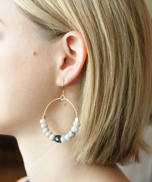 Adele Beaded Hoop Earrings | Spinel