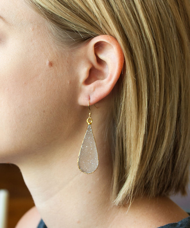 Sloane Luxe Druzy Teardrop Earrings | Silver