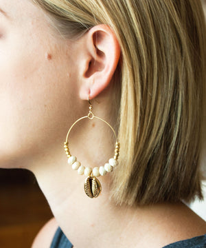 Kaia Cowrie Beaded Hoop Earrings | Turquoise