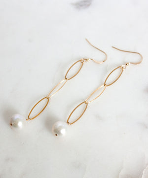 Neri Long Pearl Drop Earrings