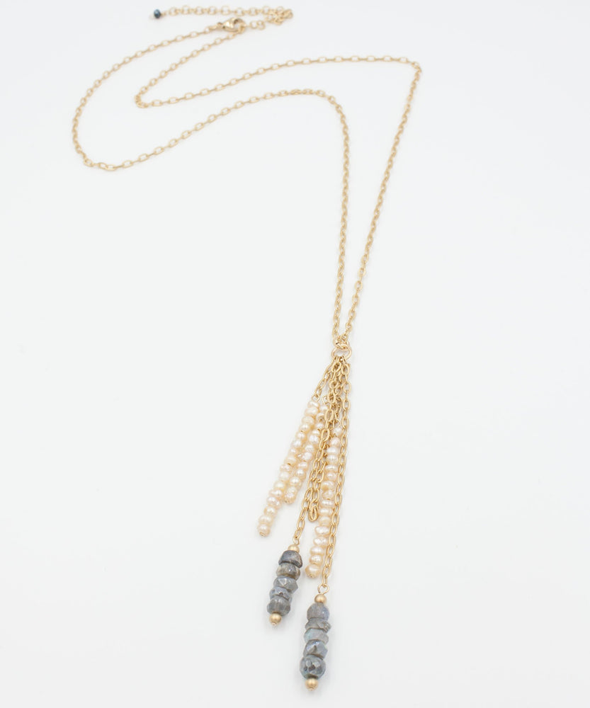Load image into Gallery viewer, Ada Fringe Necklace | Labradorite + Pearl
