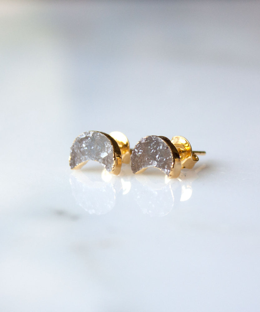 Celeste Moon Druzy Stud Earrings | Bronze
