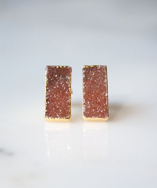 4f0fe0829 Zara Druzy Bar Stud Earrings | Bronze