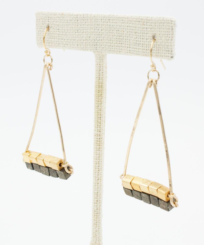 Cleo Double Pyramid Earrings | Pyrite