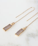 Zara Druzy Bar Threader Earrings