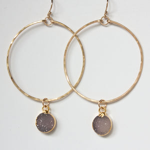 Load image into Gallery viewer, Rey Druzy Hoop Earrings