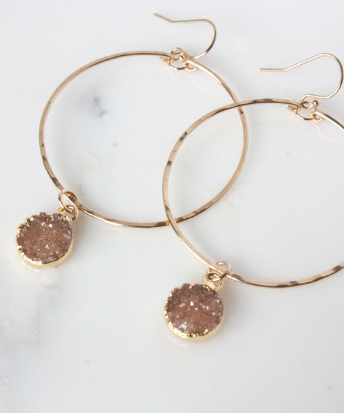 Rey Druzy Hoop Earrings
