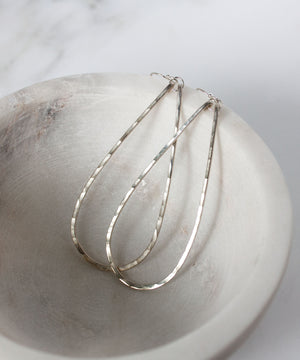Eva Long Teardrop Earrings | Silver