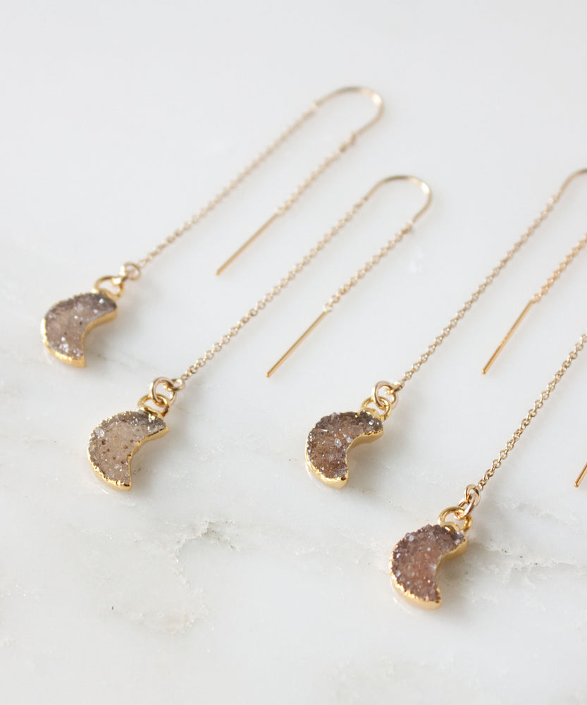 Celeste Moon Druzy Threader Earrings