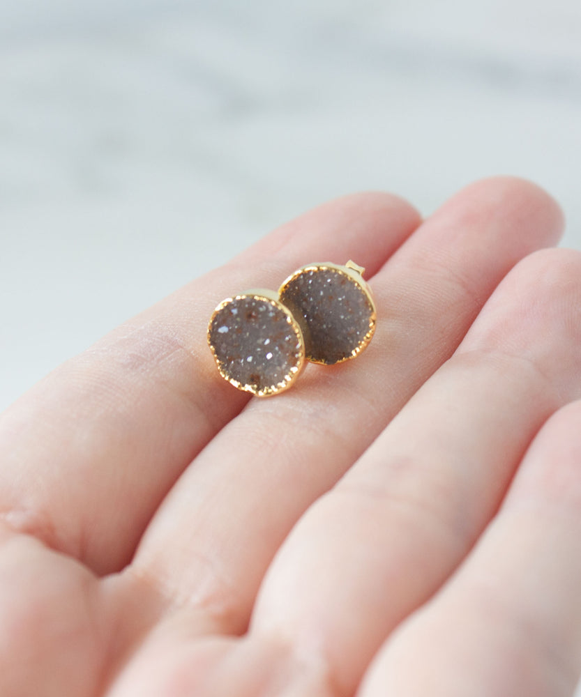 Load image into Gallery viewer, Rey Druzy Stud Earrings | Champagne
