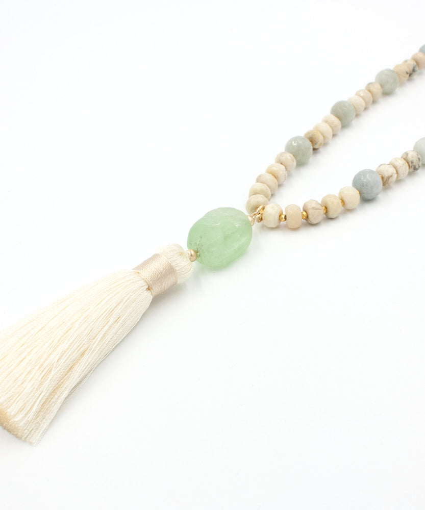 Kaia Luxe Tassel Necklace in Aquamarine, African Opal