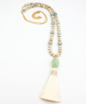 Load image into Gallery viewer, Kaia Luxe Tassel Necklace | Aquamarine