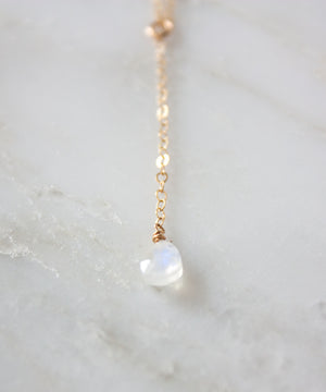 Brie Petite Y Necklace | Moonstone