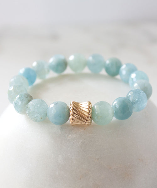 Gold Twist Stack Bracelet | Aquamarine