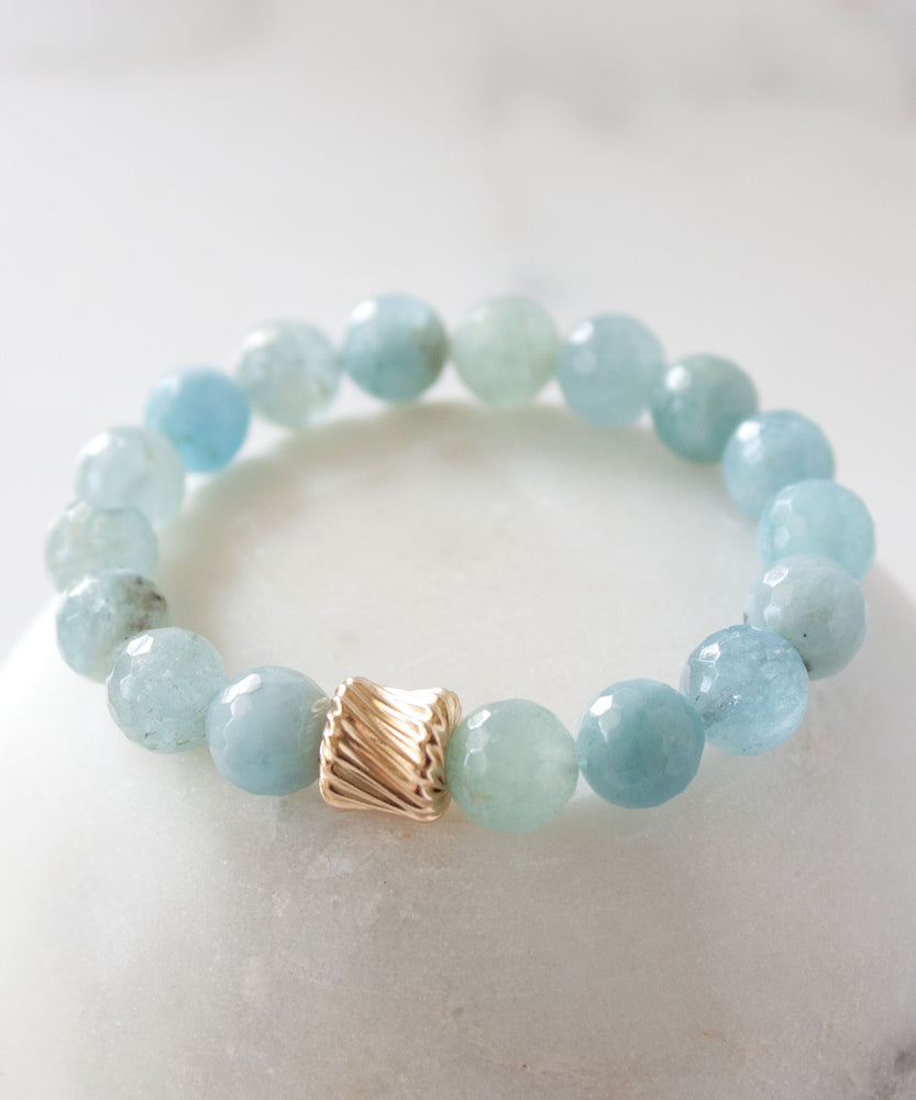 Load image into Gallery viewer, Gold Twist Stack Bracelet | Aquamarine