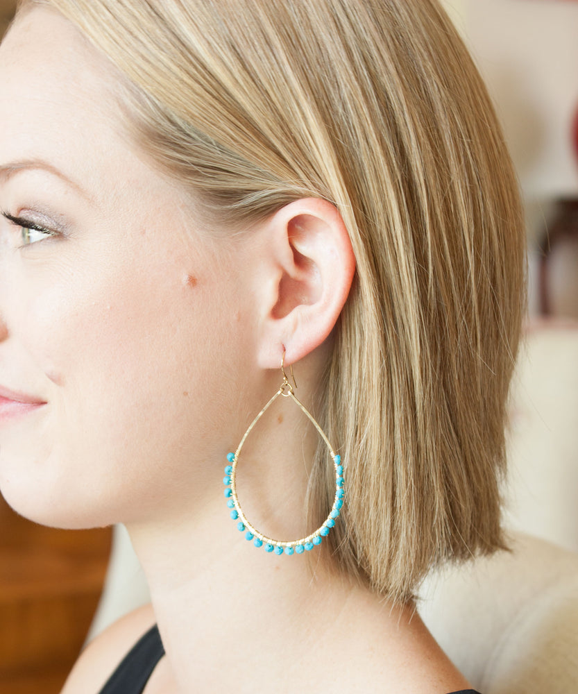Load image into Gallery viewer, Sirena Teardrop Earrings | Turquoise