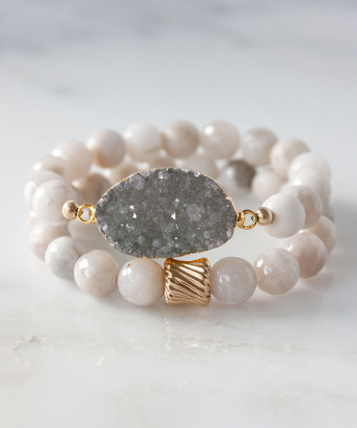 Joss Druzy Bracelet Set | Cloud Agate