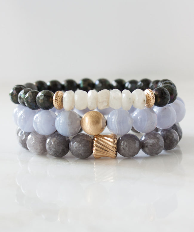 Satin Stack Bracelet | Blue Lace Agate