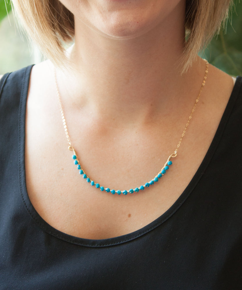 Sirena Gemstone Curved Bar Necklace | Turquoise