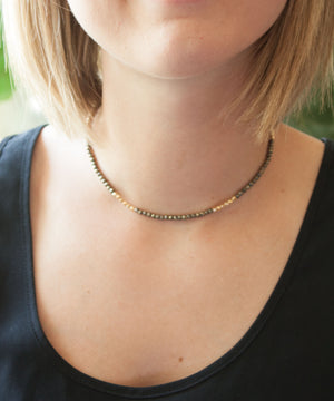 Load image into Gallery viewer, Vivien Wrap Bracelet + Choker | Pyrite