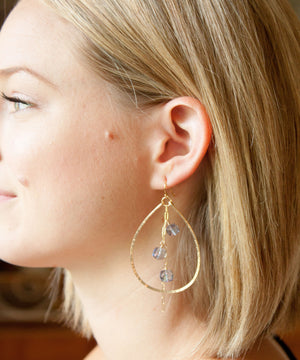 Adele Cascade Teardrop Earrings | Peach Moonstone