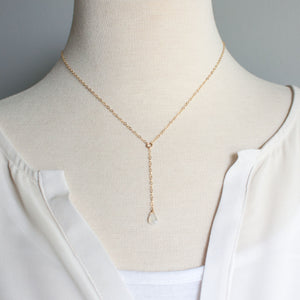 Load image into Gallery viewer, Brie Petite Y Necklace | Moonstone