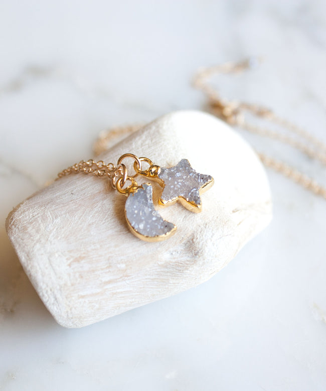 Celeste Druzy Pendant Necklace | Winter Mix
