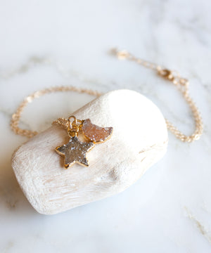 Celeste Druzy Pendant Necklace | White Mix