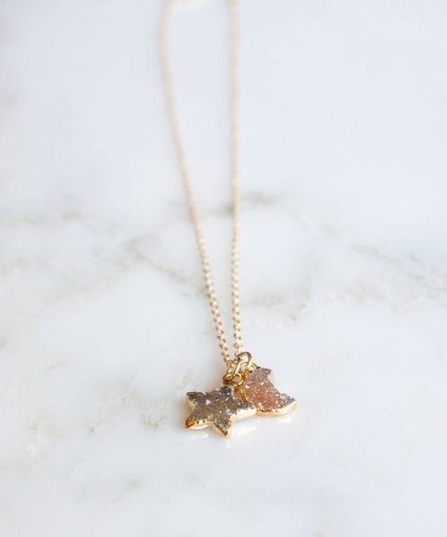 Celeste Druzy Pendant Necklace | Fall Mix