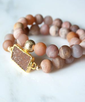 Load image into Gallery viewer, Lattice Stack Bracelet | Matte Sunstone