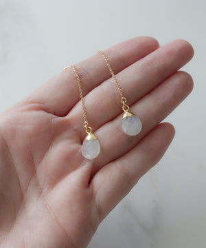 Ada Threader Earrings | Moonstone