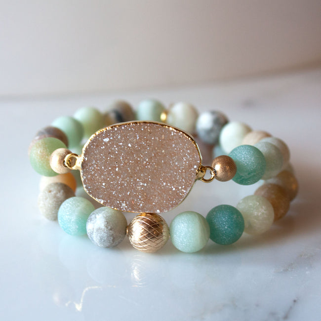 Lattice Stack Bracelet | Matte Amazonite