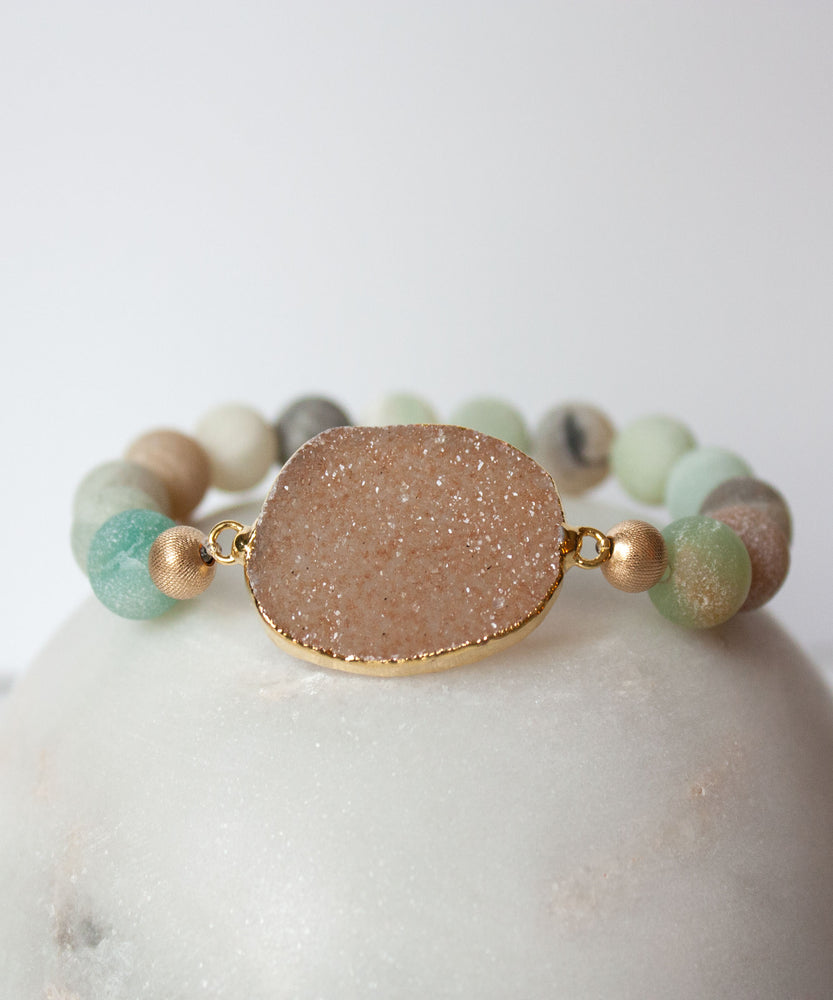 Load image into Gallery viewer, Joss Druzy Stack Bracelet Set | Matte Amazonite