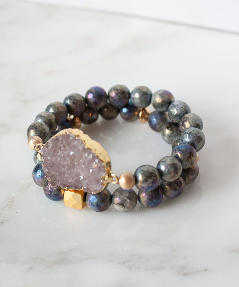 Load image into Gallery viewer, Leia Druzy Bracelet Set | Metallic Labradorite