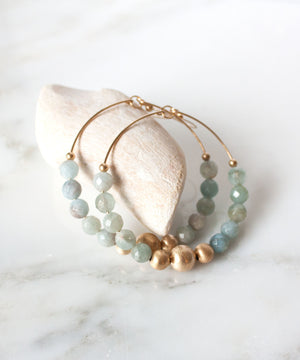 Lauren Beaded Hoop Earrings | Aquamarine