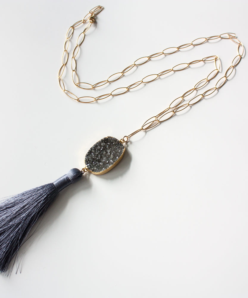 Load image into Gallery viewer, Joss Luxe Druzy Tassel Necklace