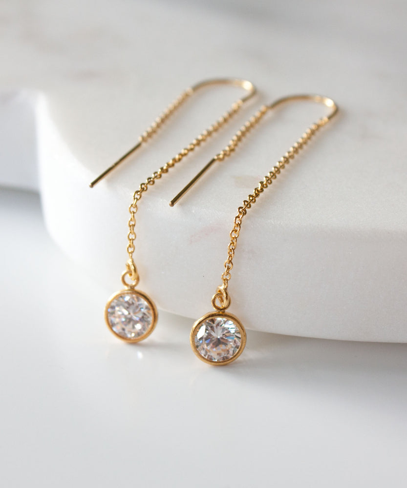 Chloe CZ Threader Earrings