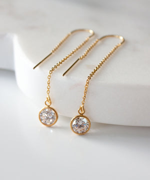 Load image into Gallery viewer, Chloe CZ Threader Earrings