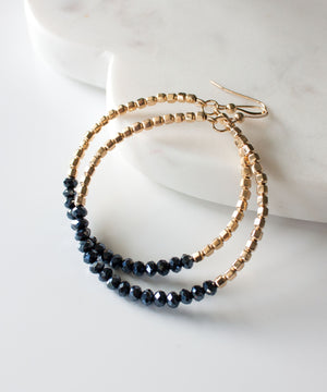 Leia Crystal Colorblock Hoop Earrings | Midnight