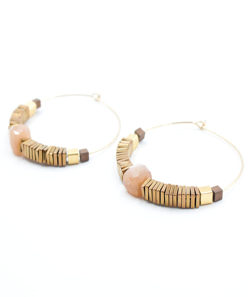 Harper Geo Hoop Earrings | Moonstone