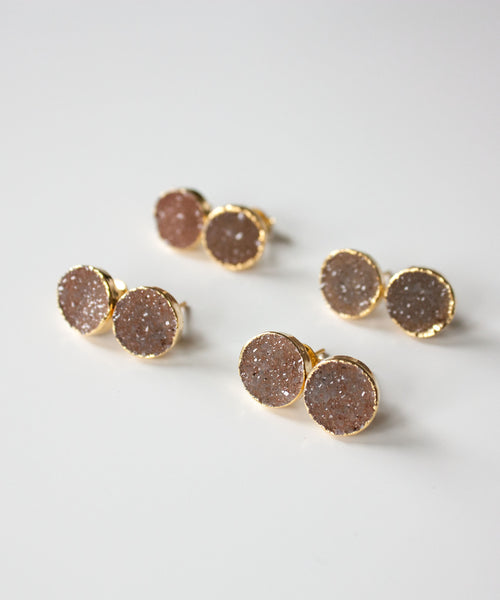 Rey Druzy Stud Earrings | Taupe