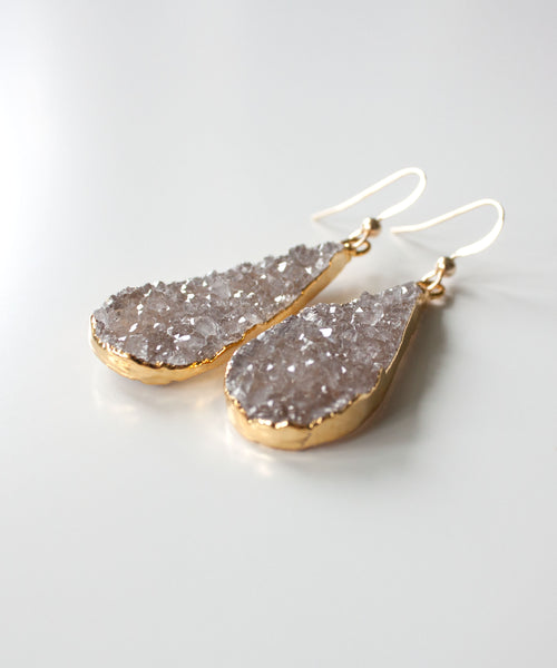 Sloane Luxe Druzy Teardrop Earrings | Champagne