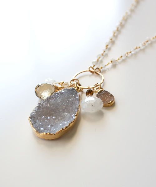 Genevieve Druzy Charm Necklace