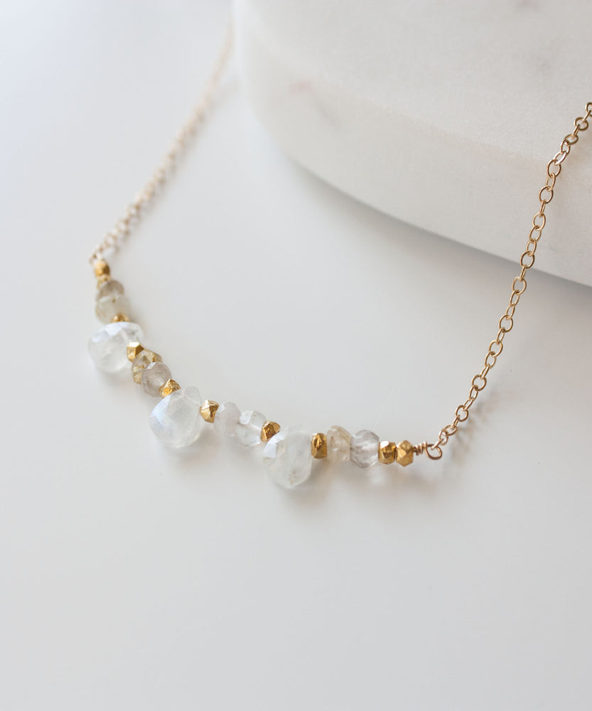 Load image into Gallery viewer, Genevieve Gemstone Arc Necklace