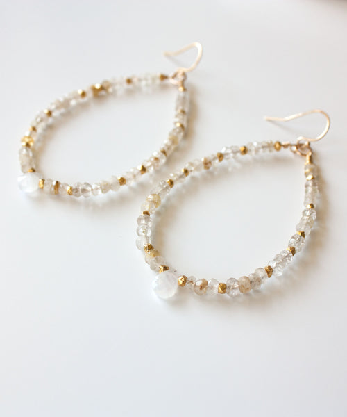 Genevieve Gemstone Hoop Earrings | Moonstone