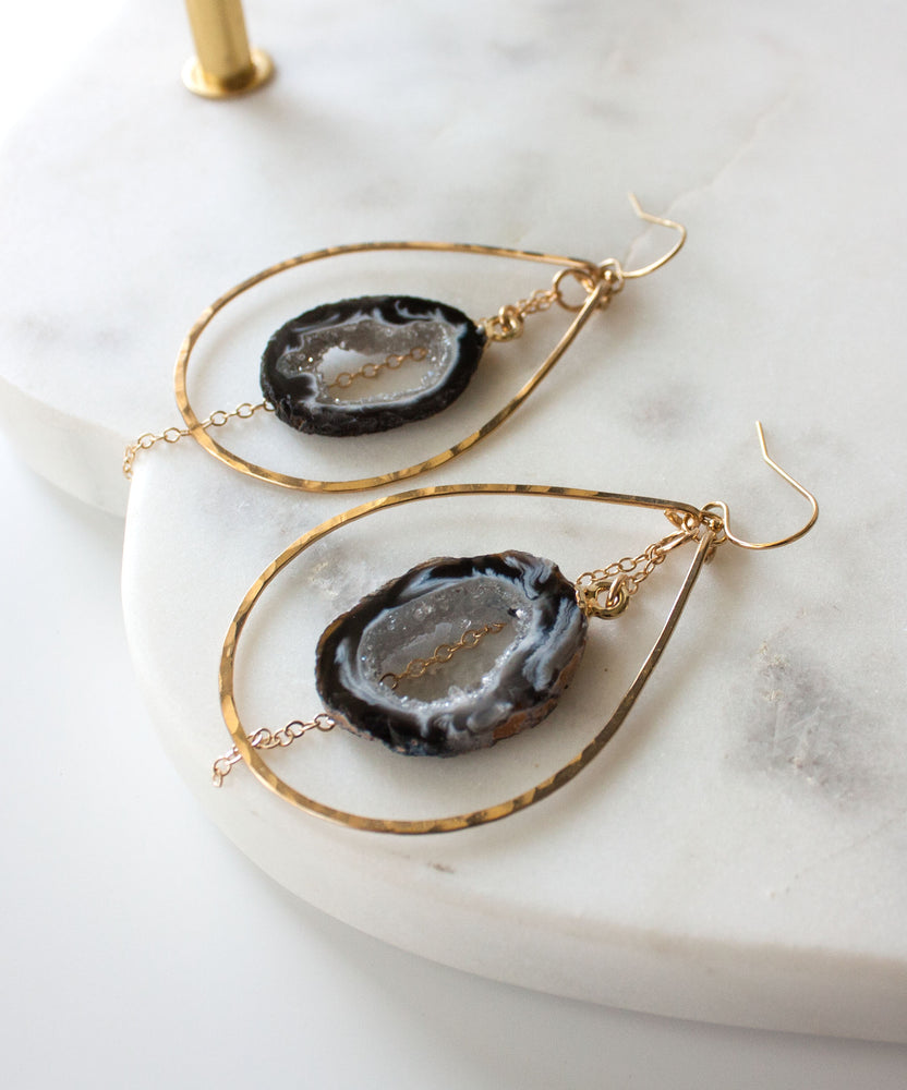 Jane Geode Slice Earrings | Medium