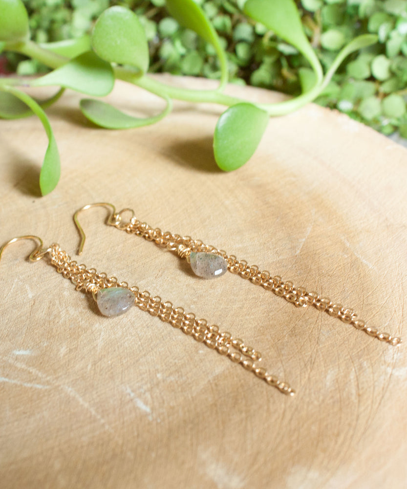 Ada Fringe Drop Earrings | Labradorite